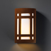 Craftsman/Mission Ambiance Large Craftsman Window Wall Sconce - Justice Design CER-7495-RRST