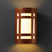 Craftsman/Mission Ambiance Large Craftsman Window Outdoor Wall Sconce - Justice Design CER-7495W-HMCP
