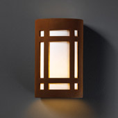 Craftsman/Mission Ambiance Large Craftsman Window Outdoor Wall Sconce - Justice Design CER-7495W-RRST