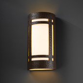 Craftsman/Mission Ambiance Really Big Craftsman Window Outdoor Wall Sconce - Justice Design CER-7497W-HMIR