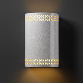 Traditional Ambiance Small Cylinder Wall Sconce With Floral Band - Justice Design CER-7805-CRK