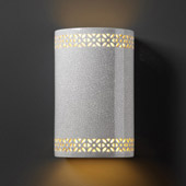 Traditional Ambiance Small Cylinder Outdoor Wall Sconce With Floral Band - Justice Design CER-7805W-CRK