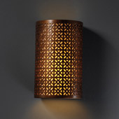 Traditional Ambiance Small Cylinder Outdoor Wall Sconce With Overall Floral - Justice Design CER-7815W-ANTC