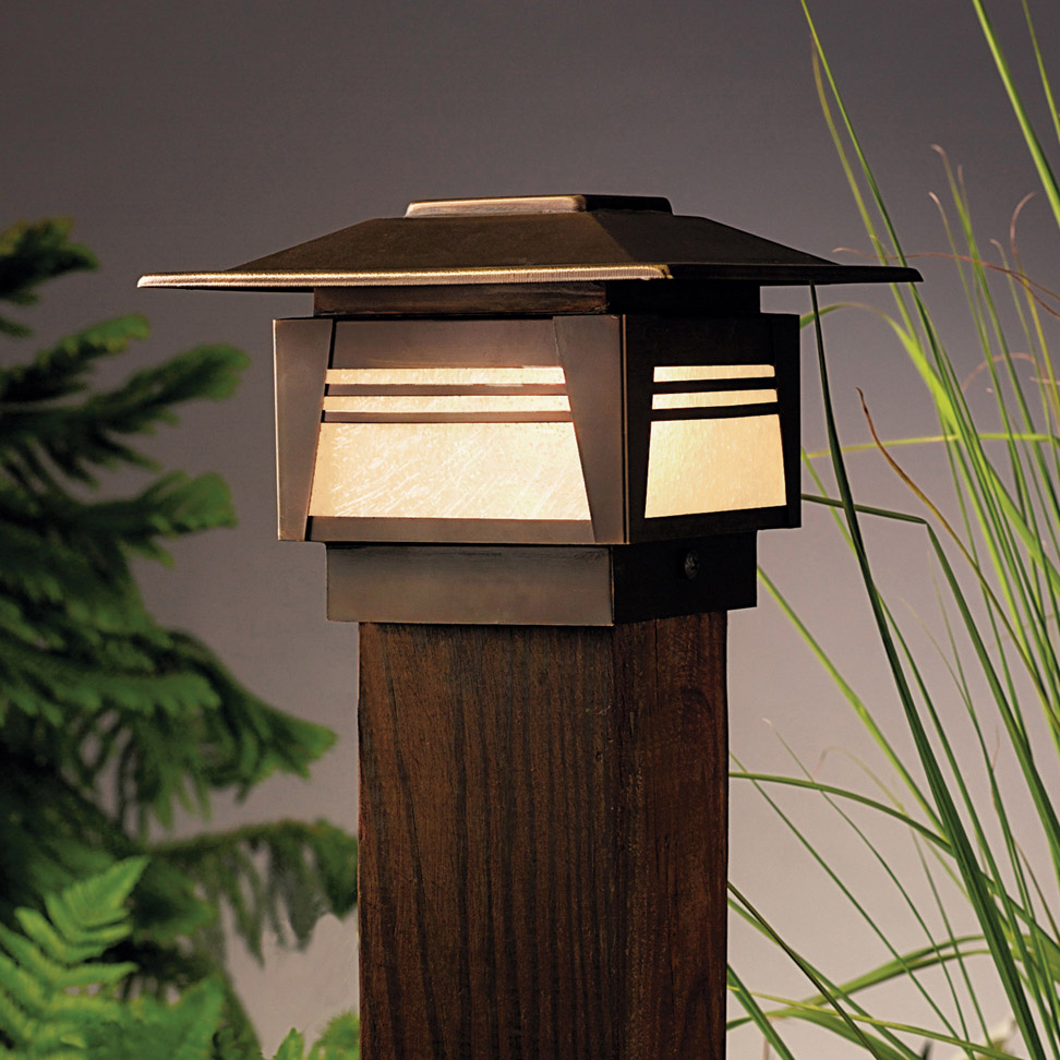 Patio Deck Post Lights: Kichler 15071OZ Zen Garden 12V Deck Post Light
