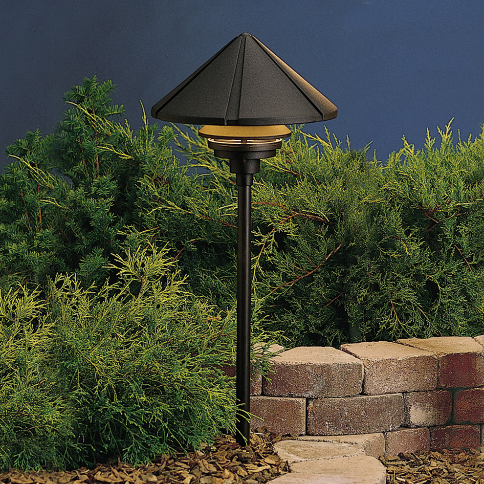 Kichler 15211bkt six groove 120v large one tier path for 120v landscape lighting