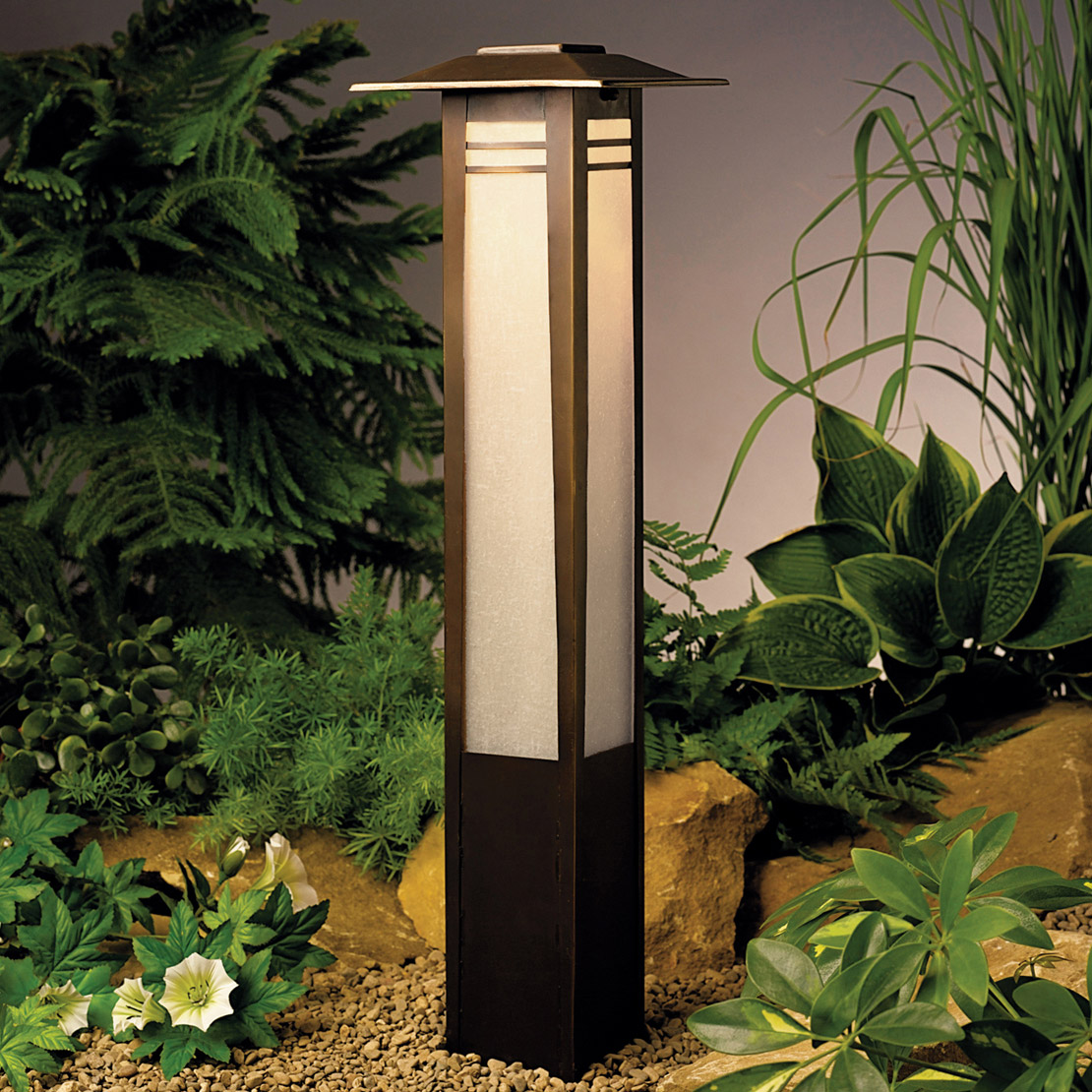 Kichler 15392oz zen garden 12v landscape bollard light for Outdoor landscape lighting fixtures