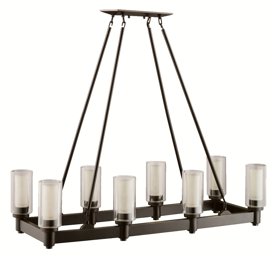 Circolo Rectangular Chandelier 2943oz on transitional house landscape