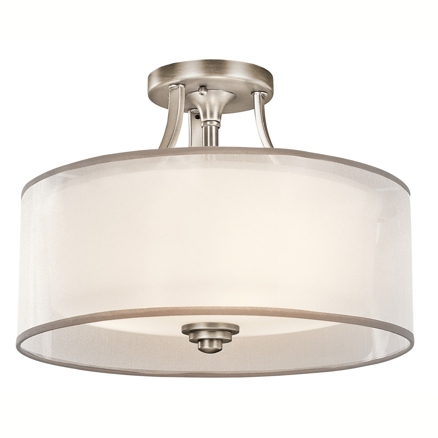 Kitchen Lighting Fixture Sets: Kichler 42386AP Lacey Semi-Flush Ceiling Fixture