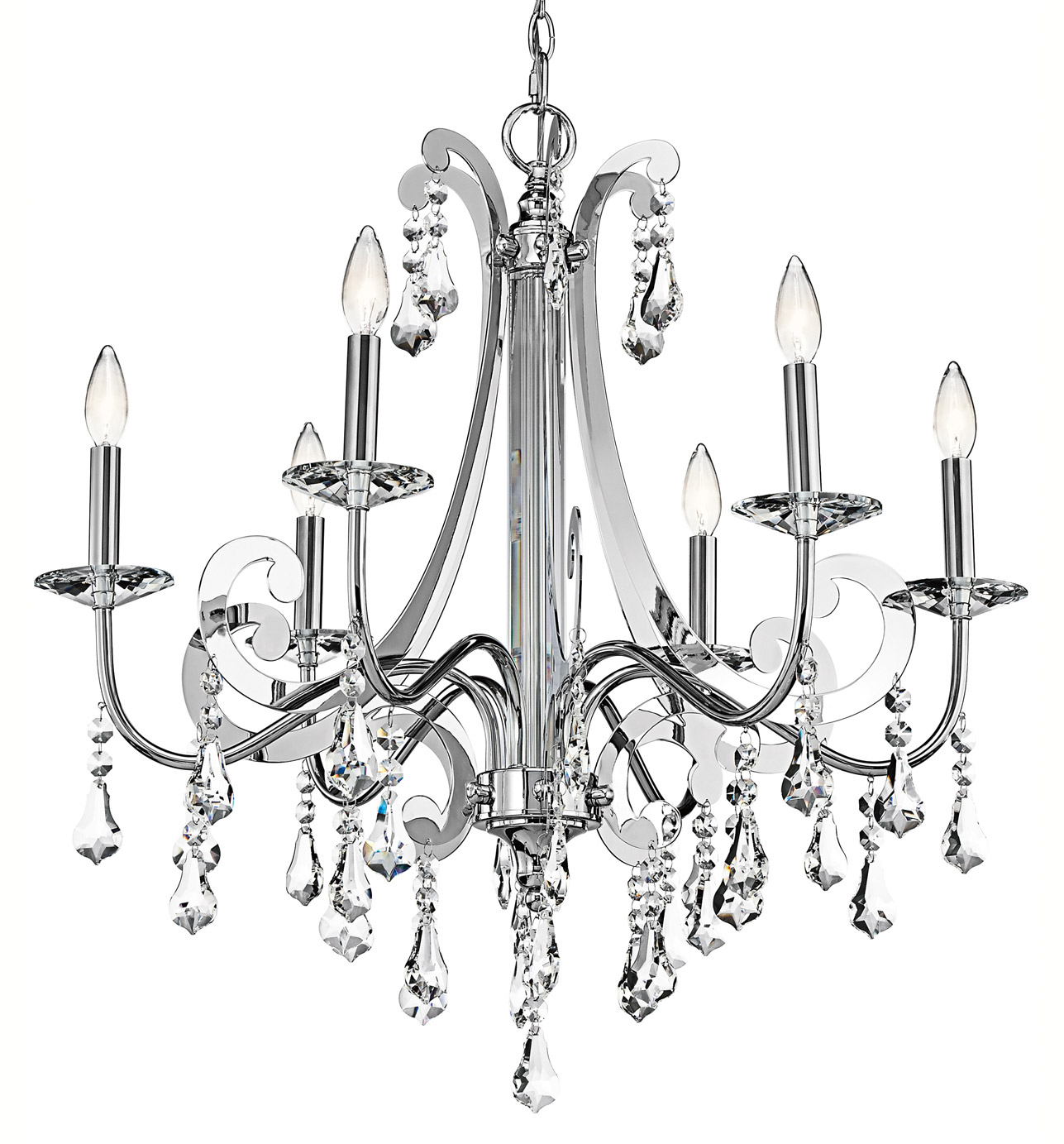 Kichler 42545ch Crystal Leanora Six Light Chandelier