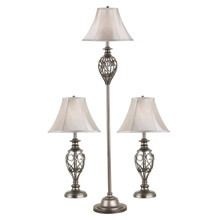 Kenroy Home 80007SIL Cerise Set Of 2 Table Lamps And 1 Floor Lamp