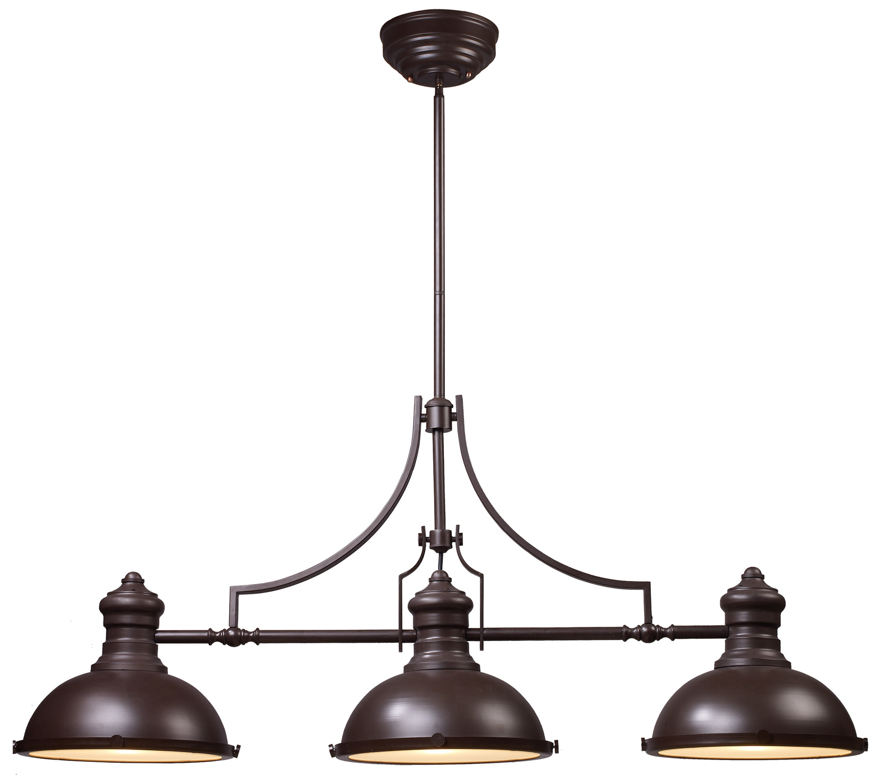 Elk lighting 66135 3 chadwick pool table light for Luminaire noir suspension