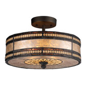 Classic/Traditional Mica Filigree Semi-Flush Ceiling Fixture - Elk Lighting 70065-2