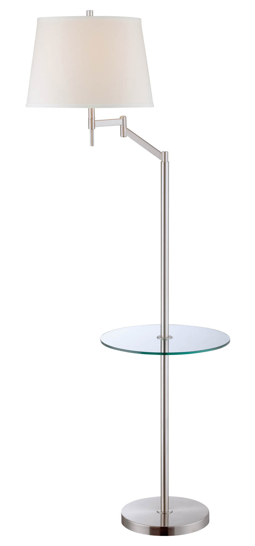 Lite source ls 82139 eveleen swing arm floor lamp with tray for Swing arm floor lamp with glass tray table