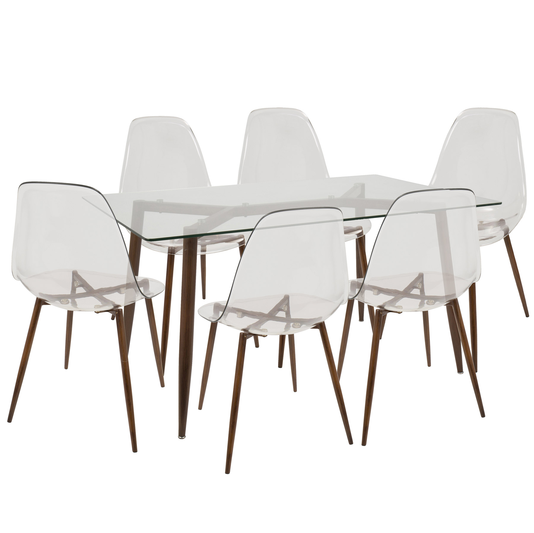 Swell Lumisource Ds Clra7 Wl Cl Clara 7 Piece Dining Set Ncnpc Chair Design For Home Ncnpcorg