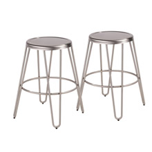 LumiSource B24-AVRMTL SS2 Avery Metal Counter Stools (Set of 2)