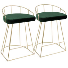 LumiSource B26-CNRY AU+GN2 Canary Counter Stools (Set of 2)