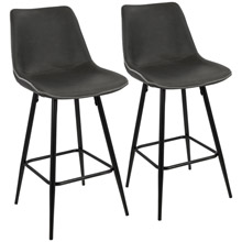 LumiSource B26-DRNG BK+GY2 Durango Counter Stools (Set of 2)
