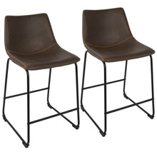 LumiSource B26-DUKZ BK+E2 Duke Counter Stools (Set of 2)