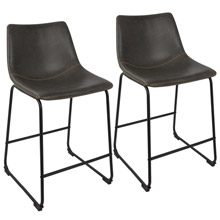 LumiSource B26-DUKZ BK+GY2 Duke Counter Stools (Set of 2)