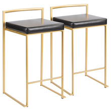 LumiSource B26-FUJI AU+BK2 Fuji Counter Stools (Set of 2)