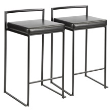 LumiSource B26-FUJI BK+BK2 Fuji Counter Stools (Set of 2)
