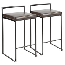LumiSource B26-FUJI BK+BN2 Fuji Counter Stools (Set of 2)