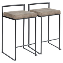 LumiSource B26-FUJI BKFBN2 Fuji Counter Stools (Set of 2)