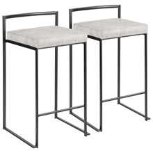 LumiSource B26-FUJI BKLGY2 Fuji Counter Stools (Set of 2)