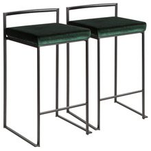 LumiSource B26-FUJI BKVGN2 Fuji Counter Stools (Set of 2)
