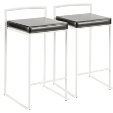 LumiSource B26-FUJI W+BK2 Fuji Counter Stools (Set of 2)