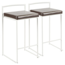 LumiSource B26-FUJI W+BN2 Fuji Counter Stools (Set of 2)