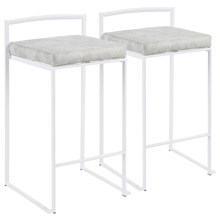 LumiSource B26-FUJI W+LGY2 Fuji Counter Stools (Set of 2)