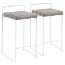 LumiSource B26-FUJI W+STN2 Fuji Counter Stools (Set of 2)