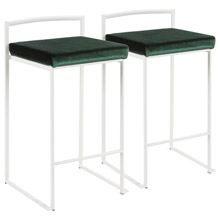 LumiSource B26-FUJI W+VGN2 Fuji Counter Stools (Set of 2)