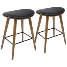 LumiSource B26-SADL WL+BK2 Saddle Counter Stools (Set of 2)