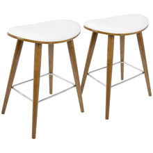 LumiSource B26-SADL WL+W2 Saddle Counter Stools (Set of 2)