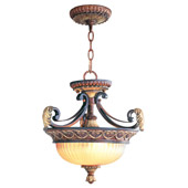 Traditional Villa Verona Semi-Flush Ceiling Fixture / Inverted Pendant - Livex Lighting 8577-63