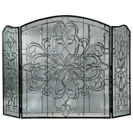 meyda 107073 beveled glass clear folding fireplace screen