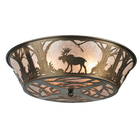 Meyda 108638 Northwoods Moose At Dawn Flush Mount Ceiling