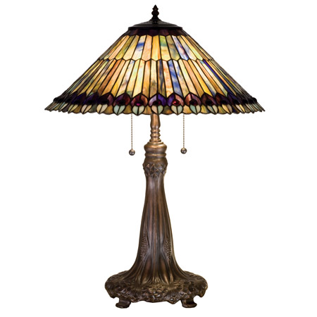 meyda 27562 tiffany jeweled peacock table lamp. Black Bedroom Furniture Sets. Home Design Ideas