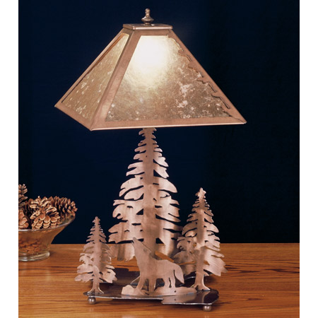 Meyda 32593 Pine Tree and Wolf Mica Table Lamp