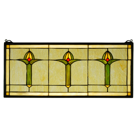 Meyda 71309 Arts Amp Crafts Bud Trio Stained Glass Window