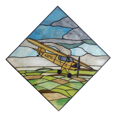 Meyda 81269 Airplane Piper Cub Stained Glass Window