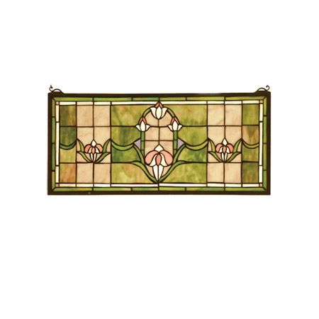 Meyda 98463 Tiffany Tulips Transom Stained Glass Window