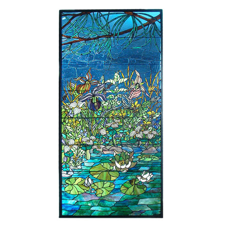 Meyda 98736 Tiffany Woodland Lilypond Stained Glass Window