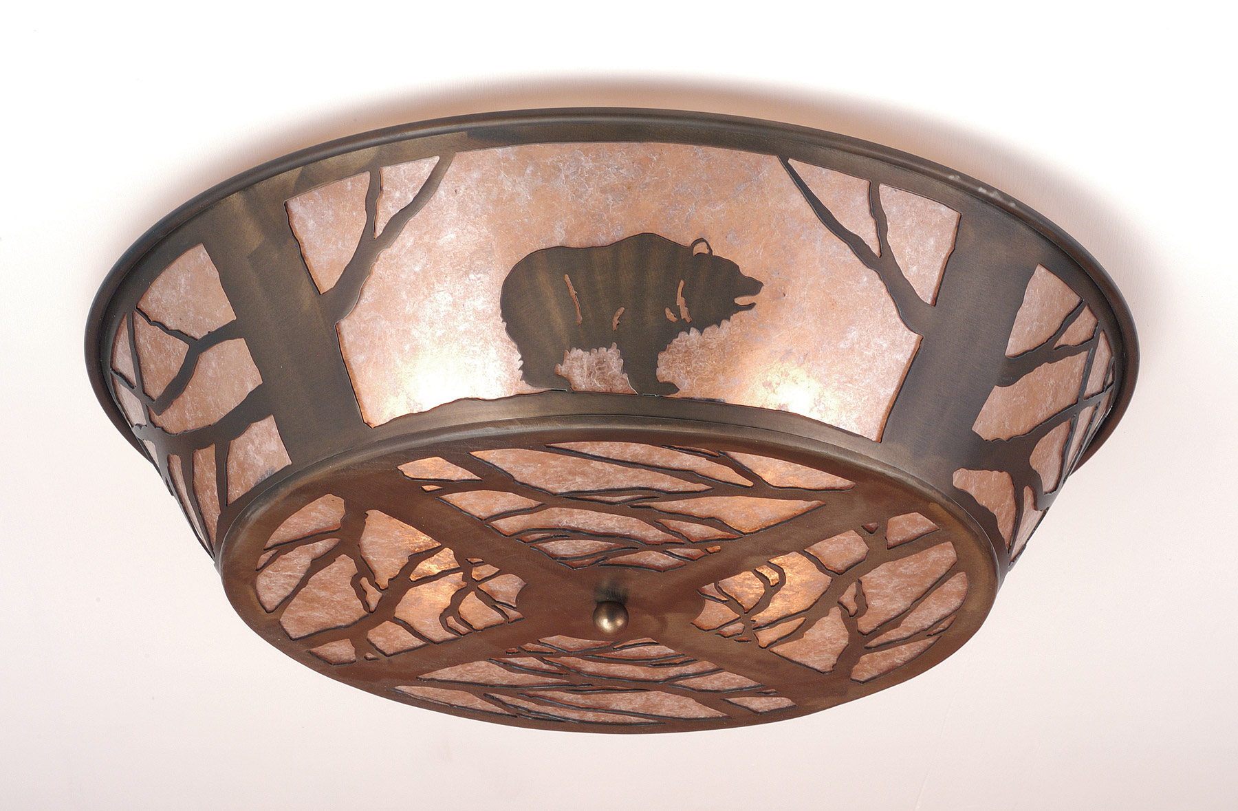 Meyda 10011 Northwoods Grizzly Bear On The Loose Flush Mount