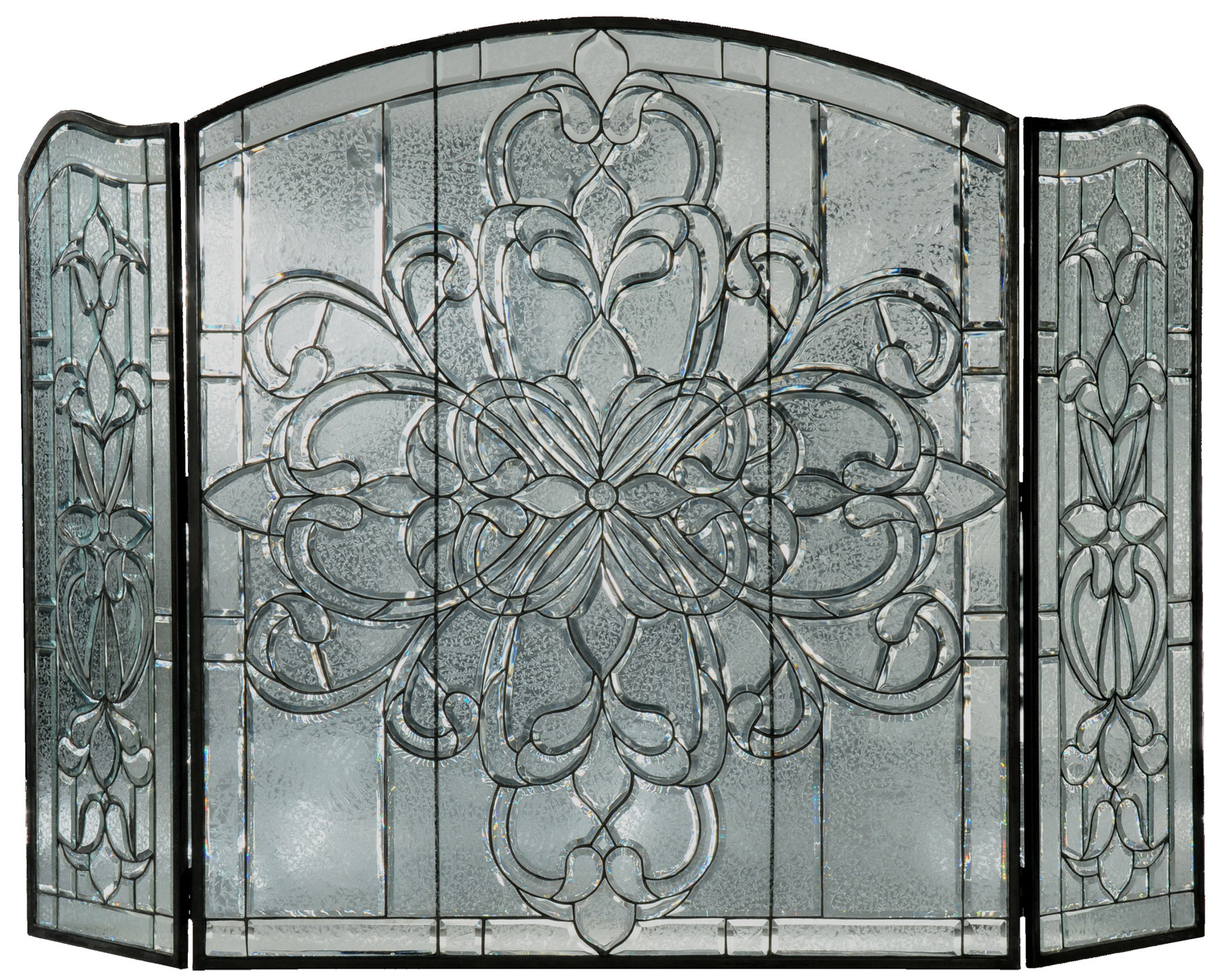 Meyda 107073 beveled glass clear folding fireplace screen Decorative fireplace screens
