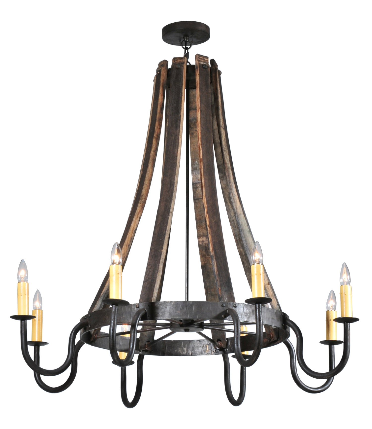 Barrel Stave Eight Light Chandelier