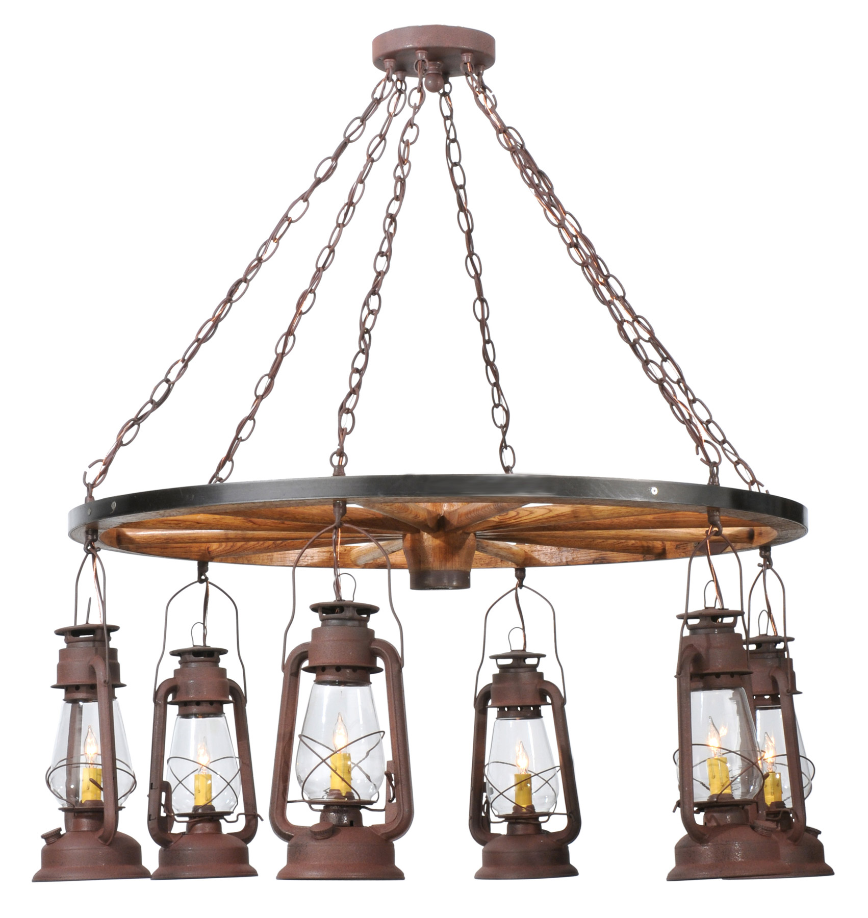 Miners Lantern Wagon Wheel Six Light Chandelier