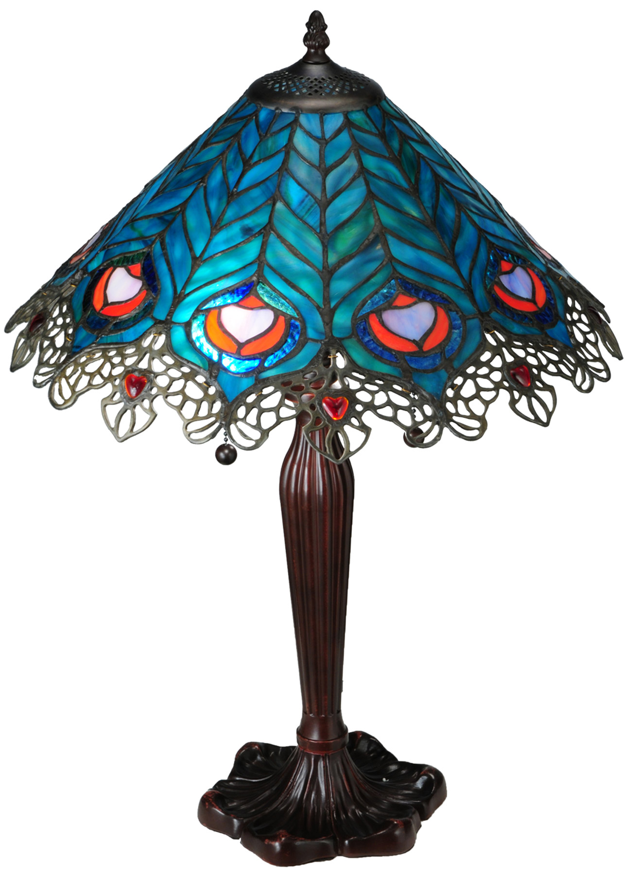 Meyda 138775 Peacock Feather Lace Table Lamp